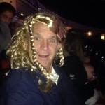 Silly Papa Gates wearing  Hadley's princess wig.