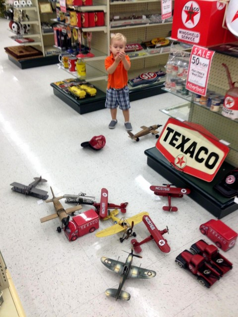 We went to Hobby Lobby to pick up something for Grammy. AJ found planes instead.