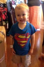 AJ in superman shirt