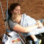 A little mommy and AJ nap at the park.