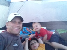 Michael with AJ & Houston last night camping on the beach. In the past Michael had said Father & Son's campout was for when they were potty trained and older.  We've learned some things this year and there was NO WAY that this daddy was not taking his AJ this year!